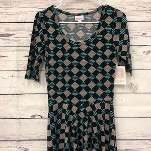 LulaRoe teal orange geometric print Nicole dress